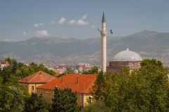 Moscheenminarett in Skopje lizenzfreie stockfotos