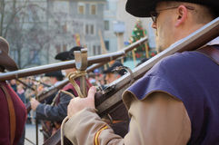 Moschettiere a Carnaval di Escalade Fotografia Stock