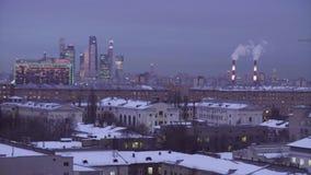 Moscou à la vue de nuit à partir du dessus à Moscou banque de vidéos