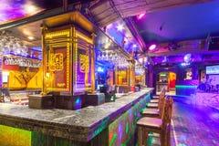 MOSCOU - AOÛT 2014 : Intérieur du restaurant mexicain de boîte de nuit Image libre de droits