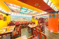MOSCOU - AOÛT 2014 : L'intérieur de la cuisine indienne et tibétaine de restaurant et est décoré dans le style ethnique Photos stock