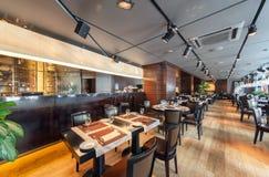 MOSCOU - AOÛT 2014 : L'intérieur est restaurant dinant luxueux et fin Photos libres de droits