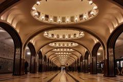 Moscou - 10 de janeiro de 2017: Estação de metro de Mayakovskaya no mesmo foto de stock royalty free