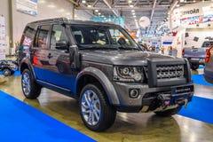 MOSCOU - EM AGOSTO DE 2016: Aterre Rover Discovery IV apresentado em MIAS Moscow International Automobile Salon o 20 de agosto de fotografia de stock royalty free