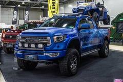 MOSCOU - EM AGOSTO DE 2016: A tundra 4x4 de Toyota apresentou em MIAS Moscow International Automobile Salon o 20 de agosto de 201 Imagem de Stock Royalty Free