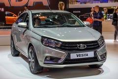 MOSCOU - EM AGOSTO DE 2016: VAZ LADA Vesta apresentou em MIAS Moscow International Automobile Salon o 20 de agosto de 2016 em Mos fotografia de stock royalty free