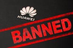 MOSCOU, FEDERA??O RUSSA - 24 de maio de 2019: Ap?s a administra??o do trunfo adicione Huawei a uma lista negra de com?rcio, Googl imagens de stock royalty free