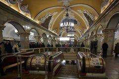 Moscou - 10 janvier 2017 : Train de attente de personnes à Moscou Image libre de droits