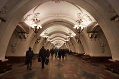 Moscou - 10 janvier 2017 : Train de attente de personnes à Moscou Images libres de droits