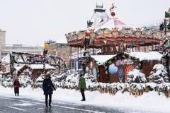 Moscou Kremlin, place rouge, saison des vacances d'hiver Photographie stock libre de droits