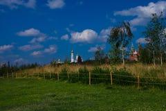 Moscou Kremlin sur un fond des champs et des bouleaux verts Photographie stock libre de droits