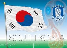 MOSCOU, la RUSSIE, juin-juillet 2018 - logo 2018 de coupe du monde de la Russie et le drapeau de la Corée du Sud Photo stock