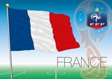 MOSCOU, la RUSSIE, juin-juillet 2018 - logo 2018 de coupe du monde de la Russie et le drapeau des Frances Images libres de droits