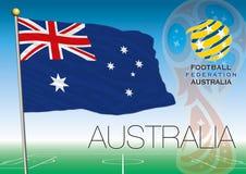 MOSCOU, la RUSSIE, juin-juillet 2018 - logo 2018 de coupe du monde de la Russie et le drapeau de l'Australie Photo stock