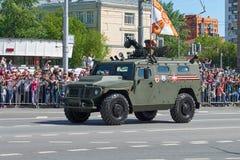 MOSCOU, MAIO, 9, 2018: Parada do feriado da grande vitória do carro blindado Tigr M de veículo militar do russo para o transporte Imagem de Stock