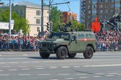 MOSCOU, MAIO, 9, 2018: Parada do feriado da grande vitória do carro blindado Tigr M de veículo militar do russo para o transporte Foto de Stock