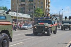 MOSCOU, MAIO, 9, 2018: Parada do feriado da grande vitória do carro blindado Tigr M de veículo militar do russo para o transporte Foto de Stock Royalty Free