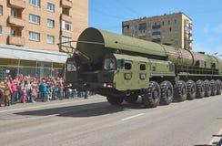 MOSCOU, MAIO, 9, 2018: Parada do feriado da grande vitória do veículo militar do russo: sistema de mísseis RS-24 Yars da arma ant Imagens de Stock Royalty Free