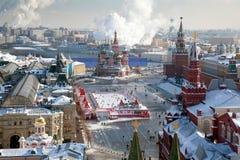Moscou, place rouge et Kremlin en hiver images stock