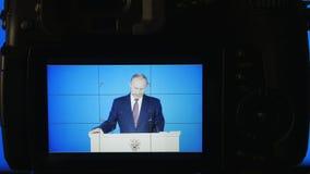MOSCOU, RÚSSIA - 1º de março de 2018, editorial: Presidente da Federação Russa Vladimir Vladimirovich Putin, anual vídeos de arquivo