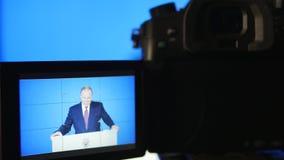 MOSCOU, RÚSSIA - 1º de março de 2018, editorial: Presidente da Federação Russa Vladimir Vladimirovich Putin, anual video estoque