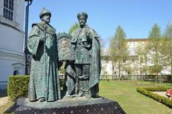 Moscou, Rússia, abril, 26, 2014 Cena do russo: Ninguém, monumento a uma memória de 400 anos de eleição ao reino do Romanov Fotografia de Stock