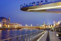 Moscou, Rússia, ` da ponte de flutuação do ` em Moscou Fotografia de Stock Royalty Free
