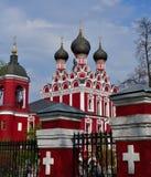 Moscou, Rússia - 30 de abril 2018 Templo do ícone de Tikhvin da mãe do deus Fotografia de Stock