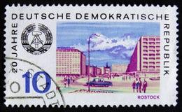MOSCOU, RÚSSIA - 2 DE ABRIL DE 2017: Um selo do cargo impresso em RDA (ger Imagem de Stock