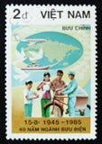 MOSCOU, RÚSSIA - 2 DE ABRIL DE 2017: Um selo do cargo impresso em Vietname Imagens de Stock