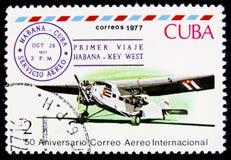 MOSCOU, RÚSSIA - 2 DE ABRIL DE 2017: Um selo impresso em Cuba mostra o Th Imagens de Stock Royalty Free