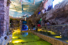 Moscou, Rússia - 10 de dezembro 2016 Oceanarium interior da cidade do açafrão em Krasnogorsk Imagem de Stock Royalty Free