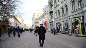 Moscou, Rússia - 21 de fevereiro 2016 Rua pedestre velha de Arbat- no centro vídeos de arquivo