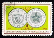 MOSCOU, RÚSSIA - 15 DE JULHO DE 2017: Selo raro impresso em mostras de Cuba Fotos de Stock