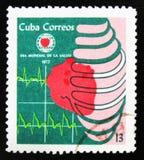 MOSCOU, RÚSSIA - 15 DE JULHO DE 2017: Selo raro impresso em mostras de Cuba Imagens de Stock