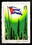 MOSCOU, RÚSSIA - 15 DE JULHO DE 2017: Um selo impresso em Cuba mostra-nos Fotos de Stock