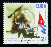MOSCOU, RÚSSIA - 15 DE JULHO DE 2017: Um selo impresso em Cuba mostra o th Fotografia de Stock Royalty Free