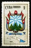 MOSCOU, RÚSSIA - 15 DE JULHO DE 2017: Um selo impresso em mostras de Cuba ou Imagens de Stock