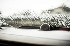 MOSCOU, RÚSSIA - 3 de maio de 2017 CORTA-MATO de VOLVO V90, vista interior Teste do corta-mato novo de Volvo V90 Este carro é SUV Fotos de Stock Royalty Free