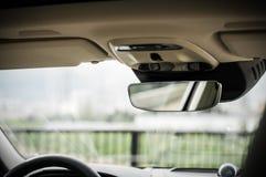 MOSCOU, RÚSSIA - 3 de maio de 2017 CORTA-MATO de VOLVO V90, vista interior Teste do corta-mato novo de Volvo V90 Este carro é SUV Imagens de Stock