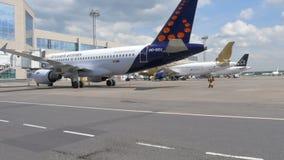 MOSCOU, RÚSSIA 30 de maio de 2017: movimento de serviços dos aviões e da terra no aeroporto de Domodedovo Brussels Airlines video estoque