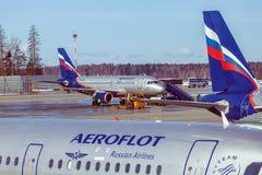 MOSCOU, RÚSSIA - 22 DE MARÇO DE 2012: Airbus A320 de Aeroflot no Foto de Stock Royalty Free