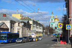 Moscou, Rússia - 14 de março de 2016 Catedral do esmagamento na rua Spartakovskaya Imagens de Stock Royalty Free