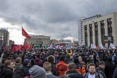 Moscou, Rússia, - 10 de março de 2019 Liberdade do Internet da procura da reunião em Rússia fotografia de stock