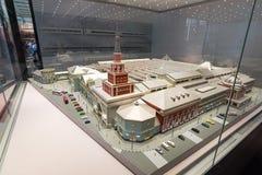 MOSCOU, RÚSSIA - 11 de março 2017 Modelo da estação de trem de Kazan nos museus da estrada de ferro de Moscou Fotos de Stock