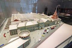 MOSCOU, RÚSSIA - 11 de março 2017 Modelo da estação de trem de Kazan nos museus da estrada de ferro de Moscou Imagens de Stock Royalty Free