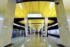 Moscou, Rússia - 17 de março 2018 Shelepikha é a estação nova do metro de Moscou Imagem de Stock Royalty Free