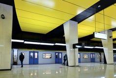Moscou, Rússia - 17 de março 2018 Trem na estação de metro nova Shelepiha Fotos de Stock