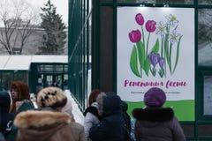 MOSCOU, RÚSSIA - 12 DE MARÇO DE 2018: Uma linha dos visitantes do ` do ensaio da mola do ` da exposição no ` do ogorod de Aptekar Foto de Stock