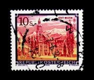 MOSCOU, RÚSSIA - 24 DE NOVEMBRO DE 2017: Um selo impresso em Áustria s Imagens de Stock
